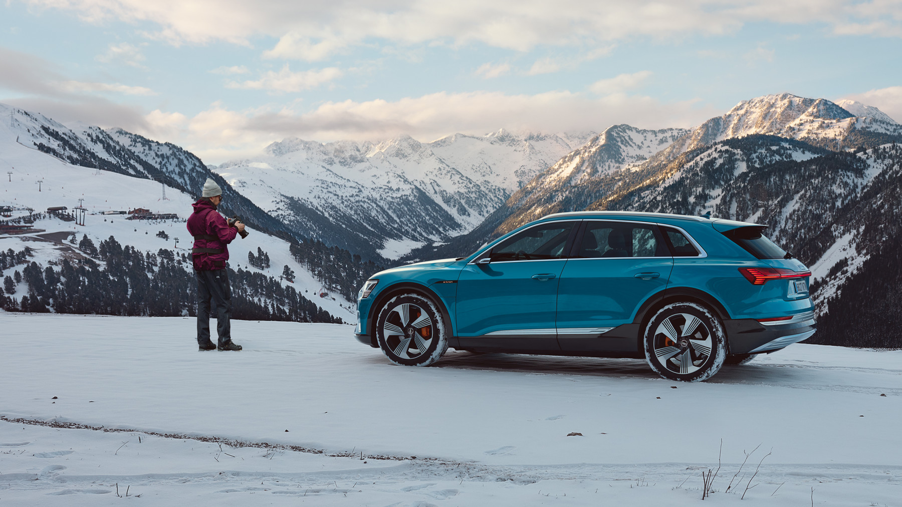 Audi E-Tron winter Barcelona to Baqueira Beret spread